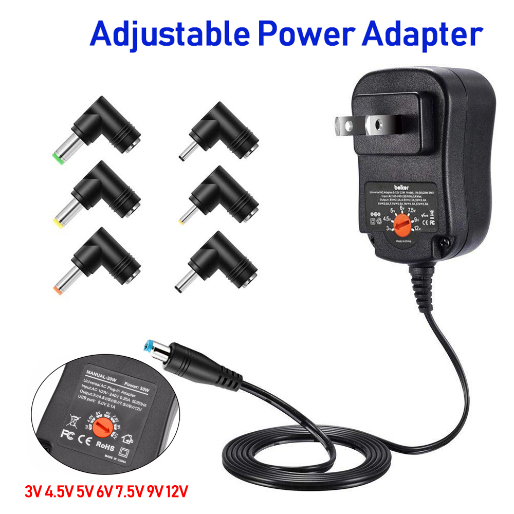 <font><b>AC</b></font>/DC Adaptor <font><b>4.5V</b></font> 5V 6V 7.5V 9V 12V 2A 2.5A Adjustable Universal Power Supply Charger Switching <font><b>Adapter</b></font> EU For LED Strip light image
