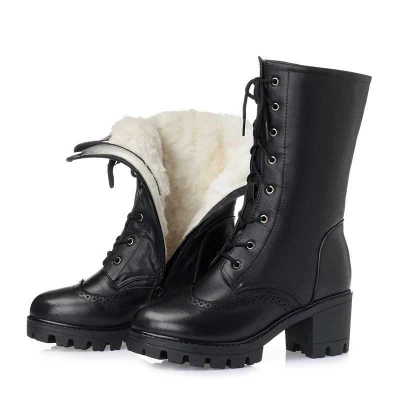Women Winter Lace-Up Vintage Thick Heels Snow Boots Genuine Leather Shoes Thick Warm Wool Lady Retro Mid Calf Boot Plus Size