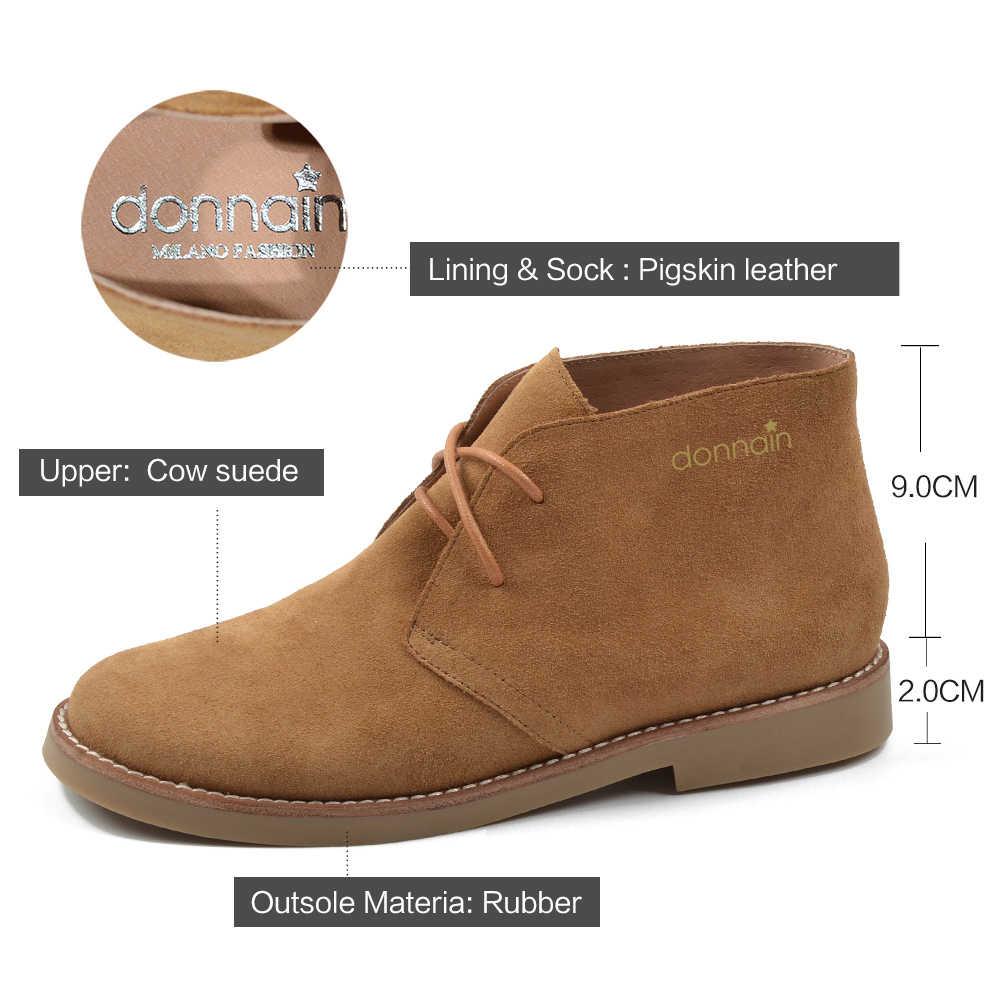 Donna-in Moda Martin Çizmeler Kadın Yetişkin Sonbahar Bahar 2019 yarım çizmeler Süet Deri bağcıklı Rahat Düşük Topuk ayakkabı Kadın