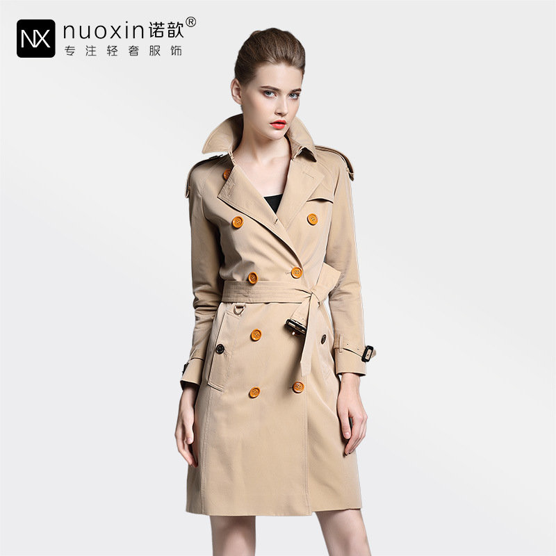 Women 2018 NEW Single Breasted   Trench   Coat British Ladies Extra-long Khaki Coat Bur Women   Trench   Coat Stylish Red Coat