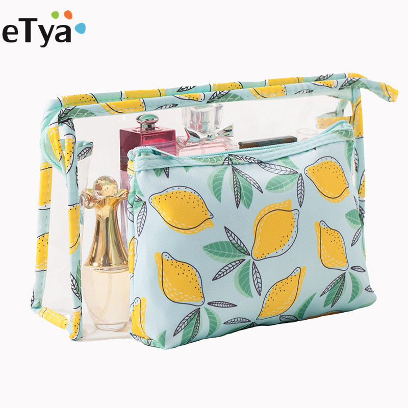eTya 2pcs/set Transparent PVC Cosmetic Bag Travel Makeup Bag Zipper Women Make Up Organizer Storage Pouch Toiletry Wash Kit Case 3pcs set women transparent cosmetic bag clear zipper travel make up case makeup beauty organizer storage pouch toiletry wash bag page 2