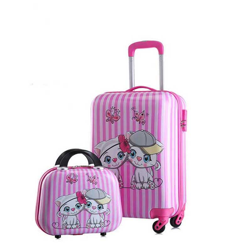 BeaSumore Cute Cartoon Children Rolling Luggage sets Spinner Kid Suitcase Wheels Trolley 20 inch Students Carry