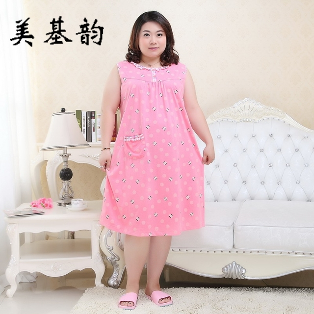 Free Shipping 2017 Women Summer Plus Size 100% Cotton Nightgown Female  Large Size Short Sleeve sleepwear Homewear Leisure Dress f731139d1