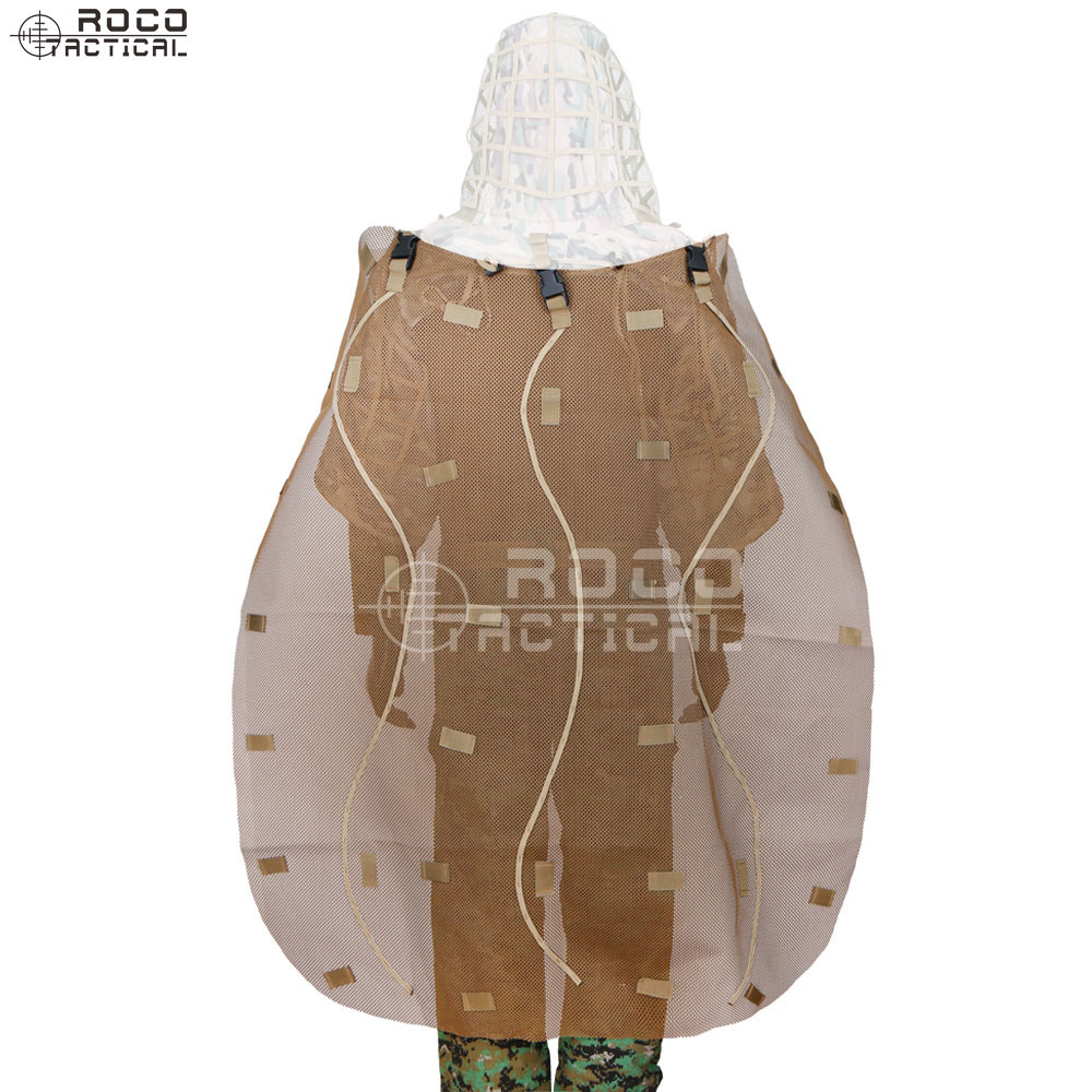 ROCOTACTICAL Ghillie Cape For Ghillie Suit Hood Removeable Sniper Ghillie Suits Cape To Cover Backpacks Camouflage Rifle Wrap