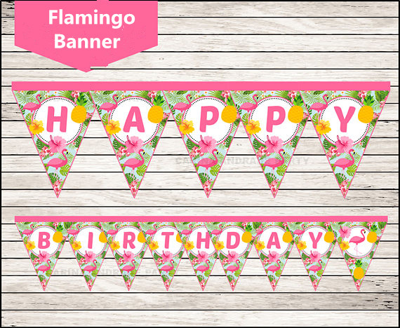 Flamingo Banner Pineapple Party Birthday party decorations kids, Pool Party Beach Luau Party Hawaiian Swimming Baby Shower