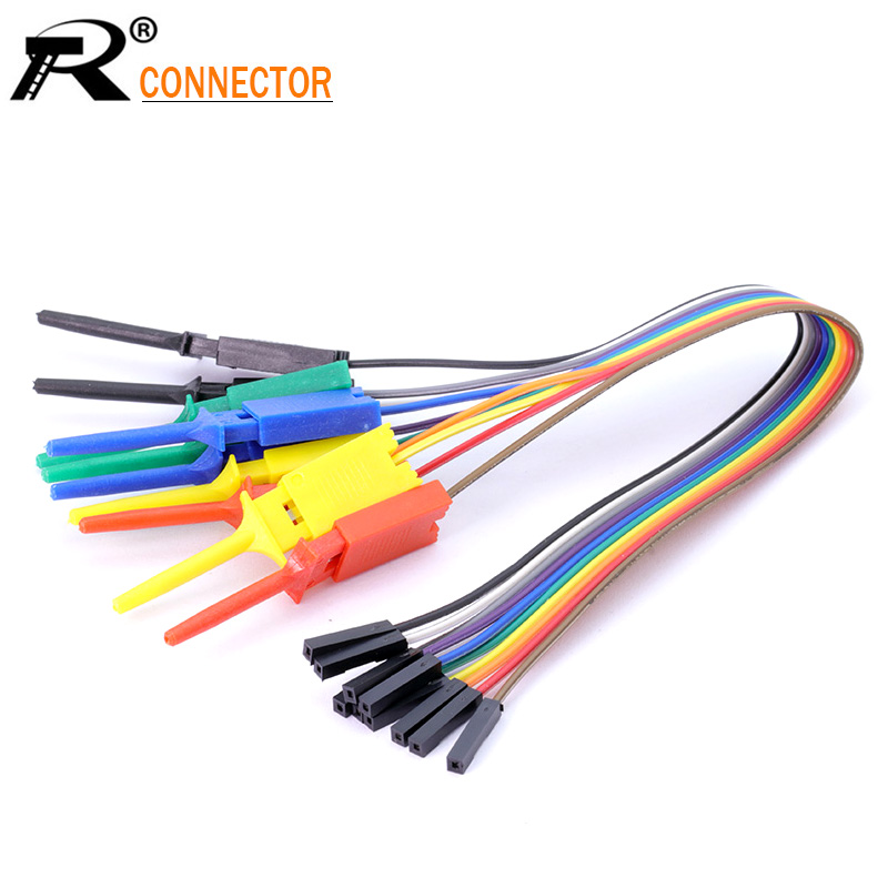 1set 25cm 10pin Alligator Clip Jump Wire 25cm Male Female Crocodile Clip Test Leads Jumper Wire Line Cables For DIY Connection