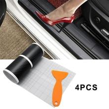 4Pcs Car Door Plate Carbon Fiber Anti Scratch Stickers for Toyota Corolla Seat Leon Jeep Fiat Skoda Fabia Rapid Renault Duster