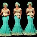 Мода Африканская Бирюза Золото Русалка Длинные Вечерние Платья Плюс Размер Баски Аппликации Анкара китенге Женщины Длинные Вечерние Платья