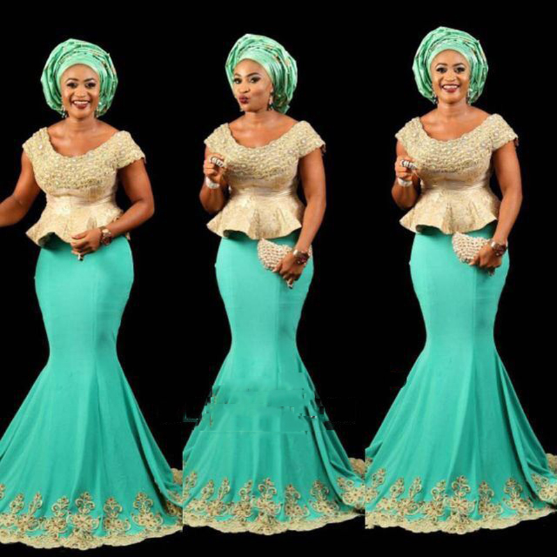 Fashion African Turquoise Gold Mermaid Long   Evening     Dresses   Plus Size Peplum Appliques Ankara kitenge Women Long Formal Gowns