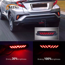 Okeen estilo do carro 1 conjunto led amortecedor traseiro refletor luz para toyota chr C HR 2016 2017 2018 2019 condução luz de travagem lâmpada da cauda
