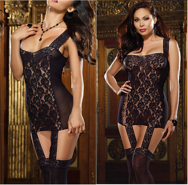 Hirigin Latex Sexy Bodysuits Womens Sexy Lingerie Erotic Lace Bodystocking Braces Hollow-out Sleepwear G-string Black