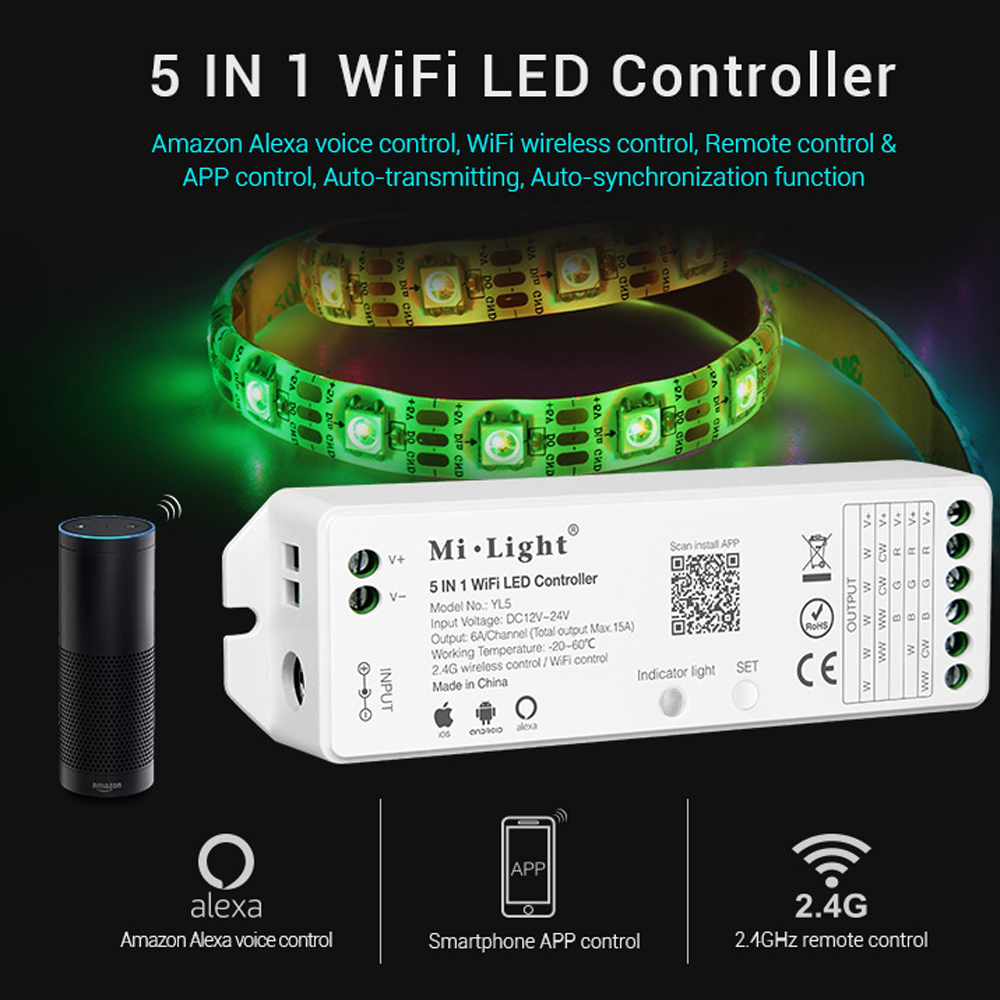 Milight YL5 5IN1 WIFI RGB CCT RGBW strip controller Amazon Alexa Phone WIFI remote controller for 5050 3528 led Strip light smart wifi controller phone app rgb cct dimmer strip controller by amazon echo alexa google home smart voice control rgb strip