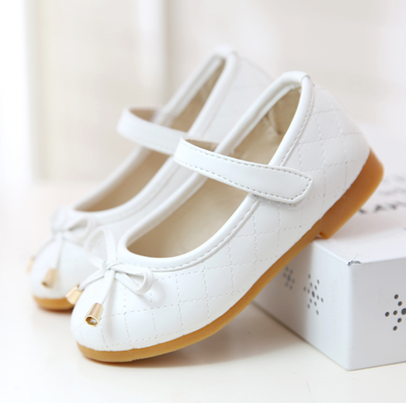 Children Shoes Girls New Arrive Casual Bow Solid 2016 Spring Girls Shoes Leather Simple Kids Clothes