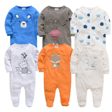Детские комбинезоны Kavkas, 6 шт./лот, летняя детская одежда с длинными рукавами, хлопковый комбинезон с мультяшным принтом для новорожденных 0 12 месяцев