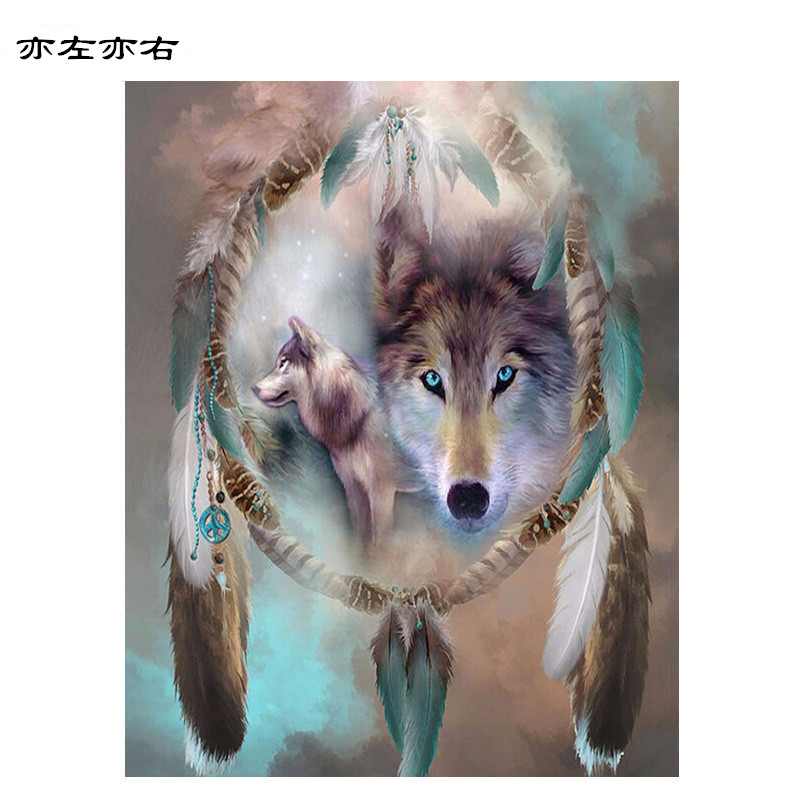 Wolf Totem Animal DIY Digital Painting By Numbers Modern Wall Art Canvas Painting Unique Gift Home Decor 40x50cm