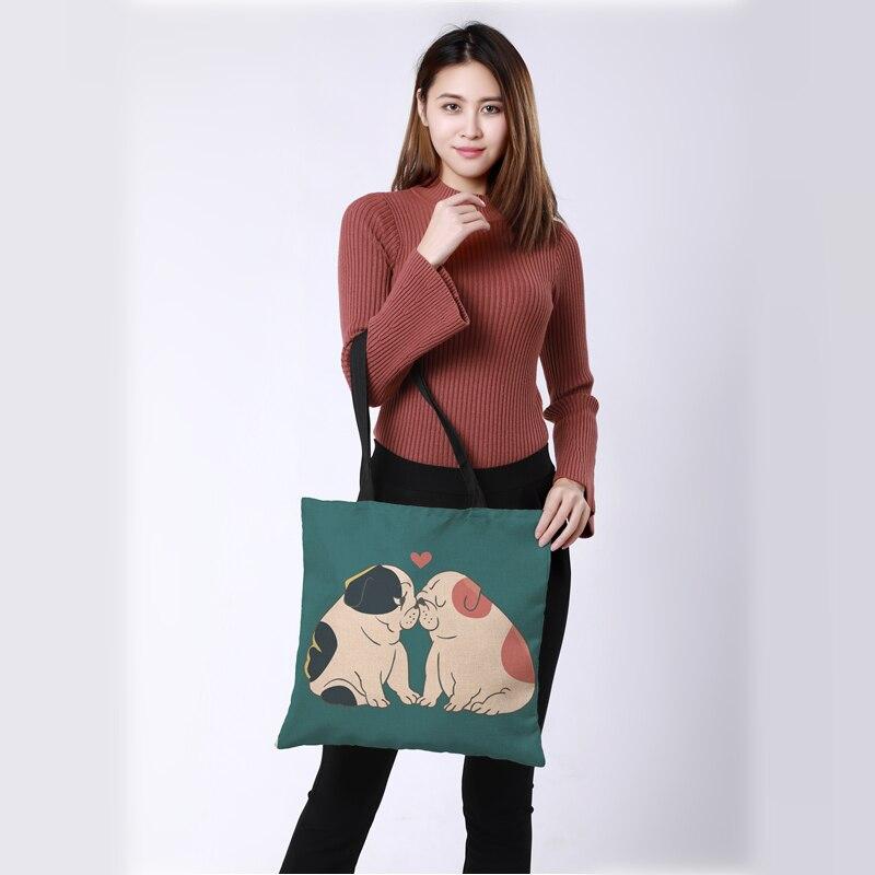 Большой печати белье сумка-шоппер Двусторонняя животных любовь роспись мешок Для женщин сумки CROWDALE Мода Сумка 43*43 см