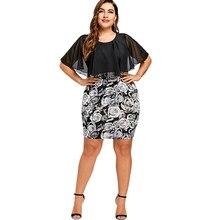ca506aa992b18e Gamiss Plus Größe 5XL Rose Print Bodycon Chiffon-Kap Kleid Frauen Große  Größe Party Mini Kurze Kleider Arbeit Tragen Büro robe F..