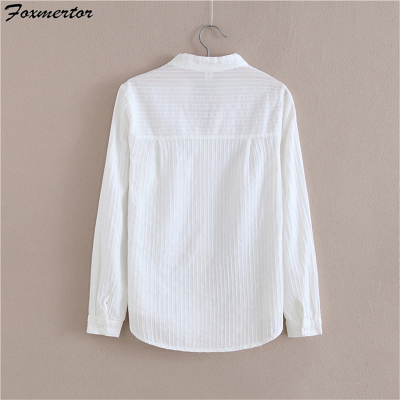 Image 2 - Foxmertor 100% Cotton White Blouse Shirt  2018 Spring Autumn Blouses Shirts Women Long Sleeve Section Casual Tops Solid Pocket-in Blouses & Shirts from Women's Clothing