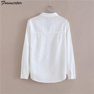 Image 3 - Foxmertor % 100% Pamuklu Gömlek Beyaz Bluz 2018 Ilkbahar Sonbahar Bluz Gömlek Kadınlar Uzun Kollu Casual Tops Katı Cep Blusas #06