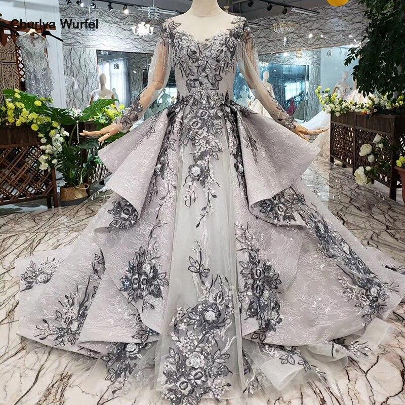 HTL319 robes de soirée grises longues pour femmes col rond manches longues robe de bal formelle musulmane à lacets avec réduction de promotion de train