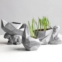 Creativo semplice geometrica animale scoiattolo Piccolo Vasi da Fiori Vasi Da Giardino In Resina Gru di Carta