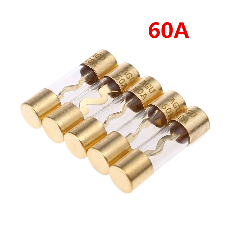 5 PACK 60 amp Amplifier Glass AGU Fuses Gold plated Current Sound System