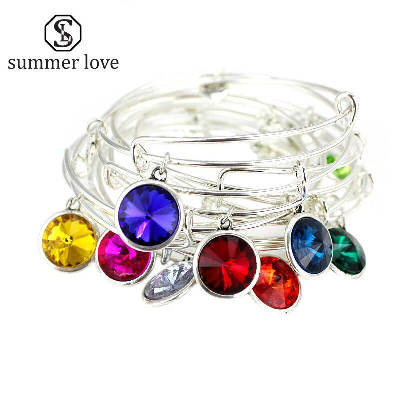 Rhinestone Crystal Birthstone Bangle Bracelet Adjustable Expandable Wire Bracelets Bangles for Women Gift Birthday Jewelry