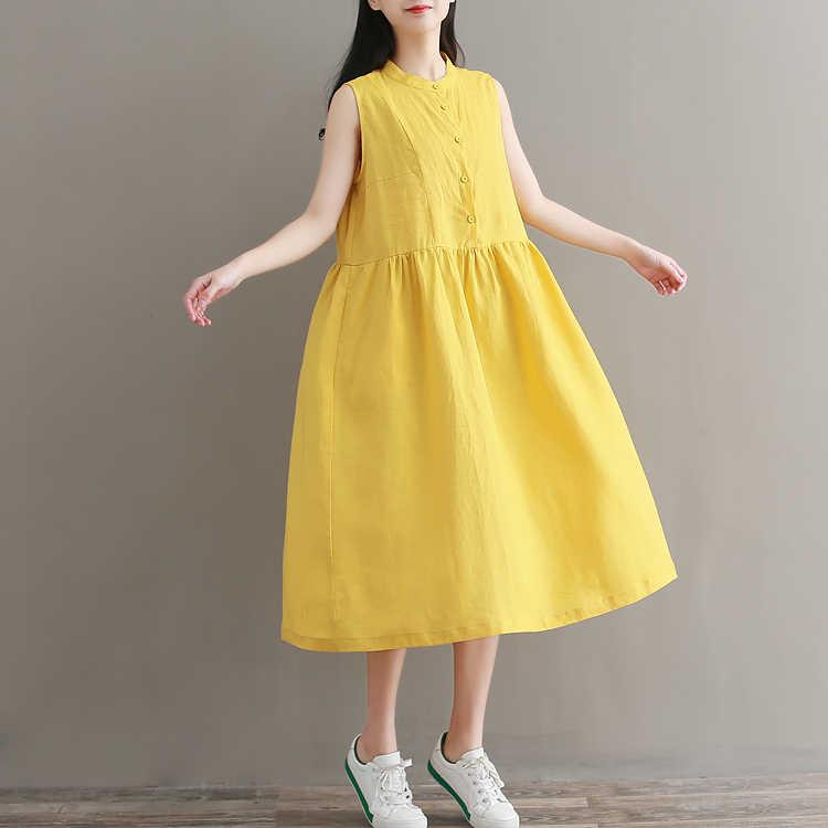 2019 новое летнее свободное платье средней длины с воротником стойкой без рукавов
