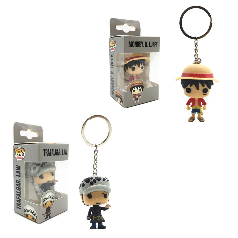 Funko POP New Pocket Pop Keychain <font><b>One</b></font> <font><b>Piece</b></font> Monkey D. <font><b>Luffy</b></font> Trafalgar Law Action Figures Model Toys Gifts Collection Figures image