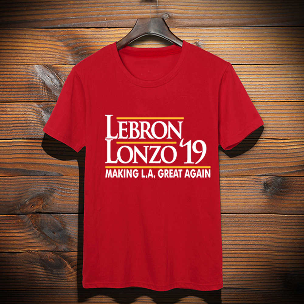 wholesale dealer c4c71 468ae New Custom Made LeBron shirt LeBron Lonzo Make Los Angeles Great Again  tshirt LeBron James LA Lakers Graphic T-Shirt Top Tees
