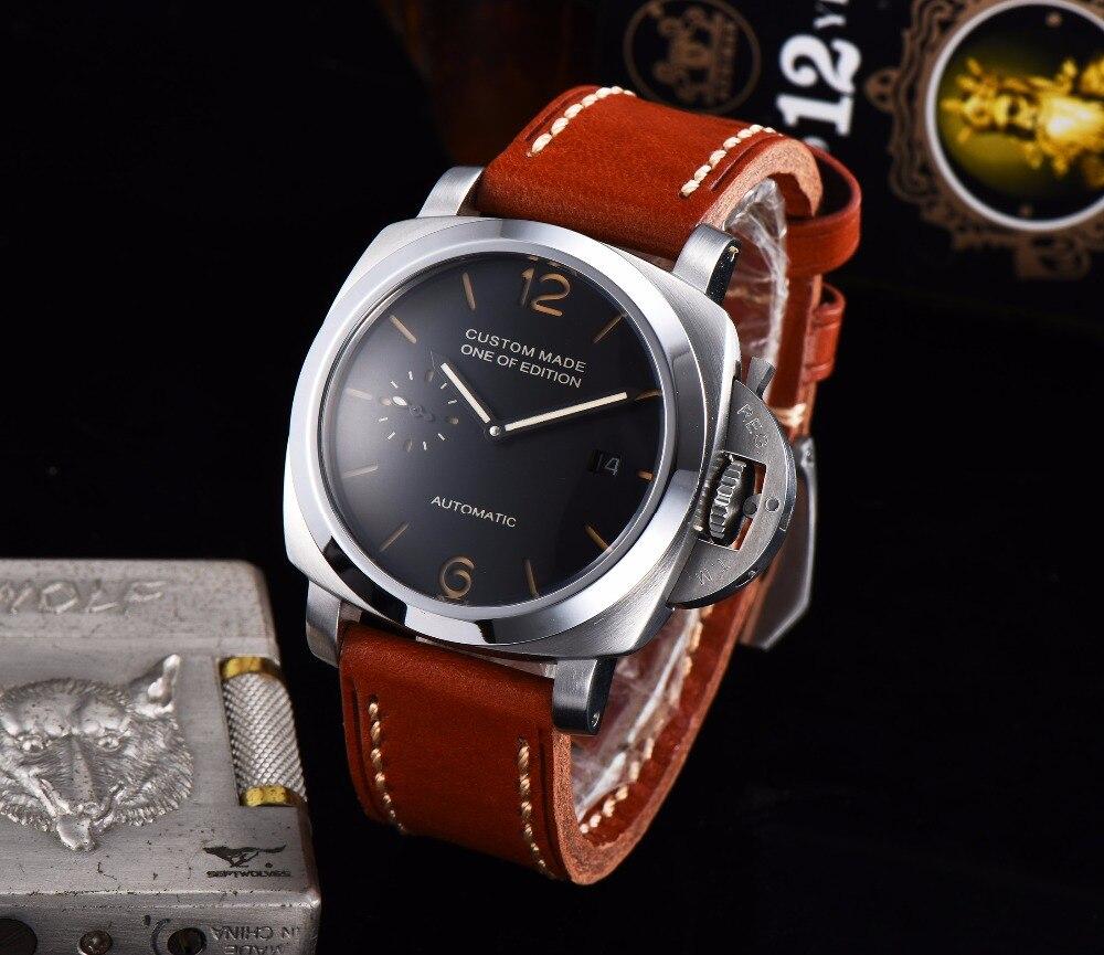 42mm parnis 316L montre en acier inoxydable solide mouvement automatique montre pour hommes cadran noir bracelet en cuir 630-15
