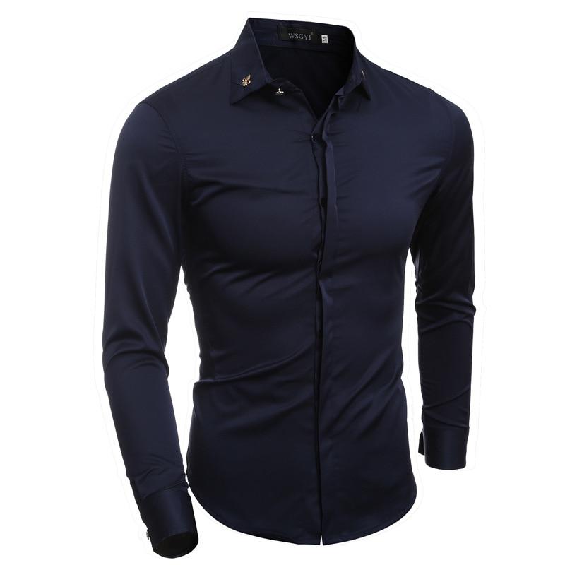 Mens Shirts Fashion 2017 Spring Formal Business Men Long Sleeve Dress Shirt Brand Male Fashion Solid