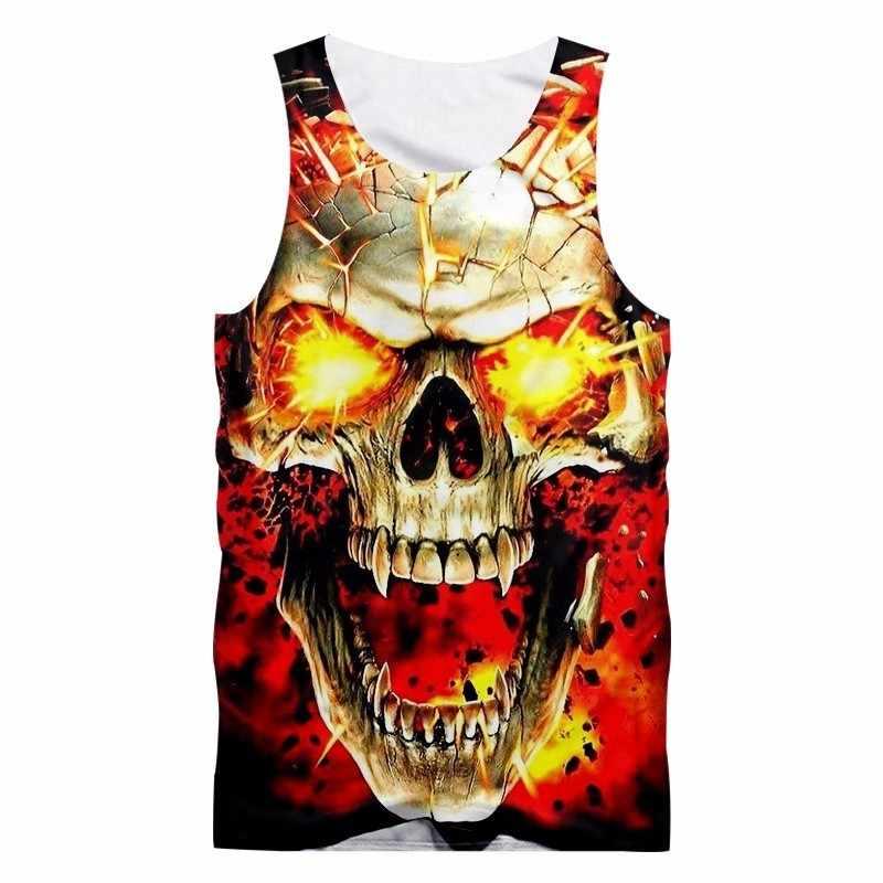 OGKB 2018 New Summer Top Unisex Hiphop Sleeveless Tee Shirt Undershirt Women/men 3D Print Broken Skull Tank Top Man Vest Singlet