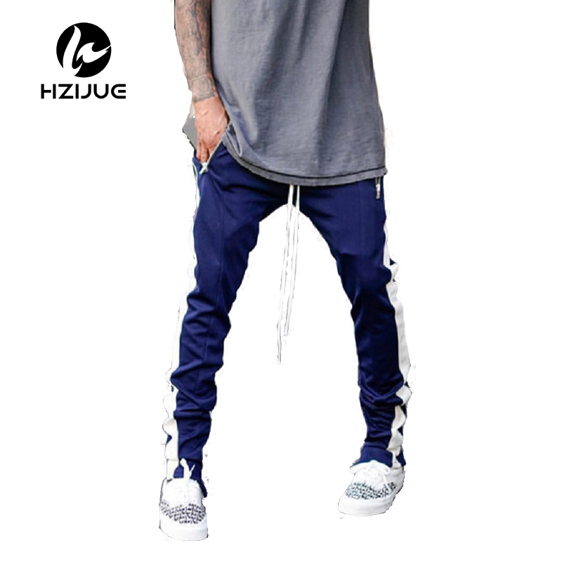 2017 Lengthened Section Sweatpants Men Occident Retro Hip Hop Trousers Side Zipper Hit Color Unisex Casual Pants