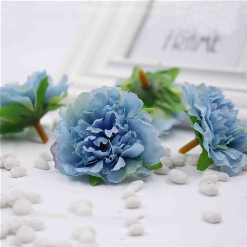 VINAMIT10pcs /LOT 5cm Artificial Carnation Flower Head Artificial Home Decor DIY Events Party Products Wreath Wedding Flower