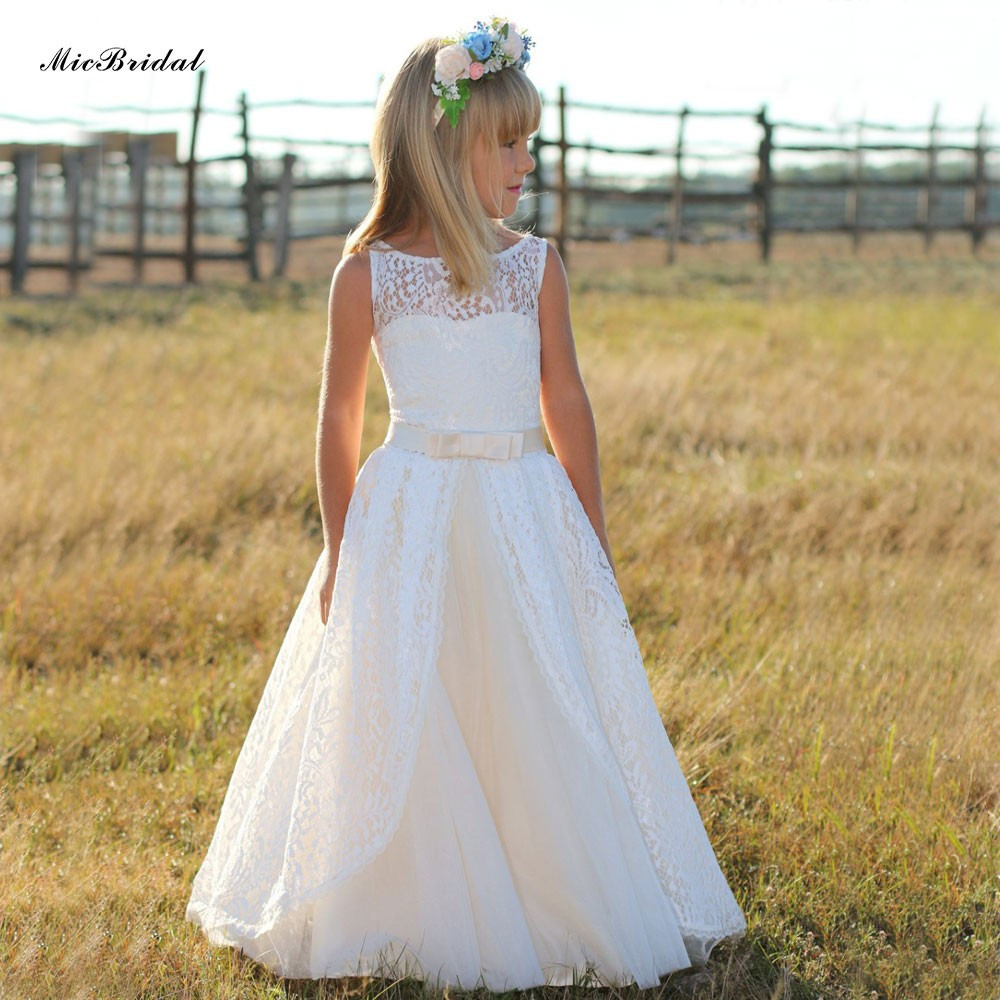 2019 Cheap A-Line Lace Floor Length   Flower     Girl     Dresses   with Appliques Sleeveless First Communion   Dresses   for   Girls   Custom Made