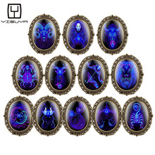 Buy New Vintage Dark Blue Pattern Watches for Girls Boys 12 Constellations Pendant Necklace Quartz Analog Pocket Watch for Teenagers directly from merchant!