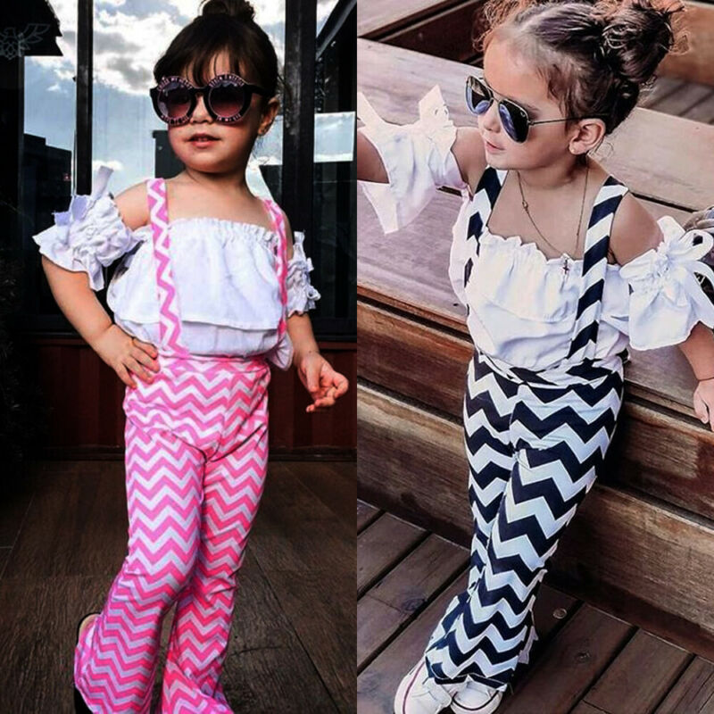 UK 2PCS Kids Baby Girl Summer Clothes Ruffle Tops Ripple Pants Striped Bow Overalls Outfits Baby Girl Summer Clothes Sets 1-6Y(China)