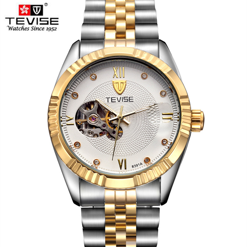 TEVISE Mens High Quality Tourbillon Automatic mechanical Watches Man Top Brand Luxury Diamant Business full steel watch Clcoks