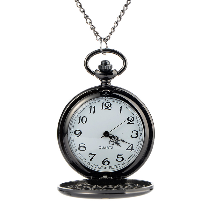 Polish Smooth Pocket Watch Men's Women Quartz Watch Pendant Necklace Hour Clock With Chain