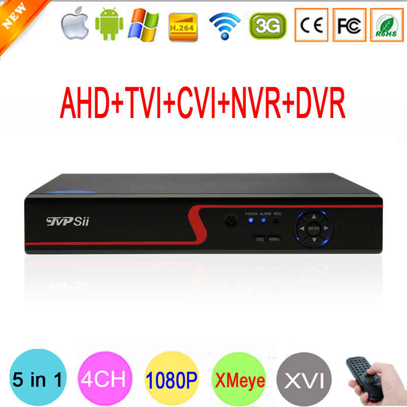Hi3520D Red Front Panel 4 Channel 4CH 1080P 2MP 5 in 1 Coaxial Hybrid Onvif XVI NVR TVI CVI AHD CCTV DVR Free Shipping silver panel hi3521a 5 in 1 xmeye 4 channel 4ch 1080p 2mp 25fps realtime hybrid coaxial nvr tvi cvi ahd cctv dvr free shipping