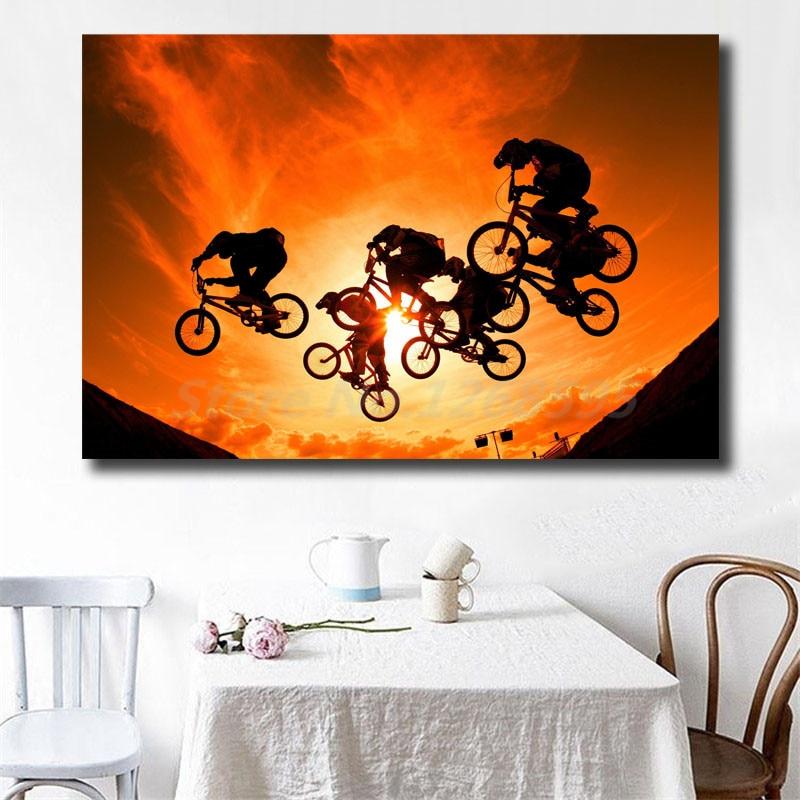 Bmx Bicycle Bike Motocross Jumping Sunset Hd Canvas