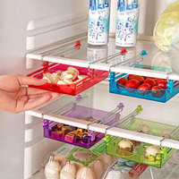 Kitchen 1PC Small Fridge Storage Rack With Layer Partition Refrigerator Plastic Storage Holder Pull-out Drawer Organizer #79213
