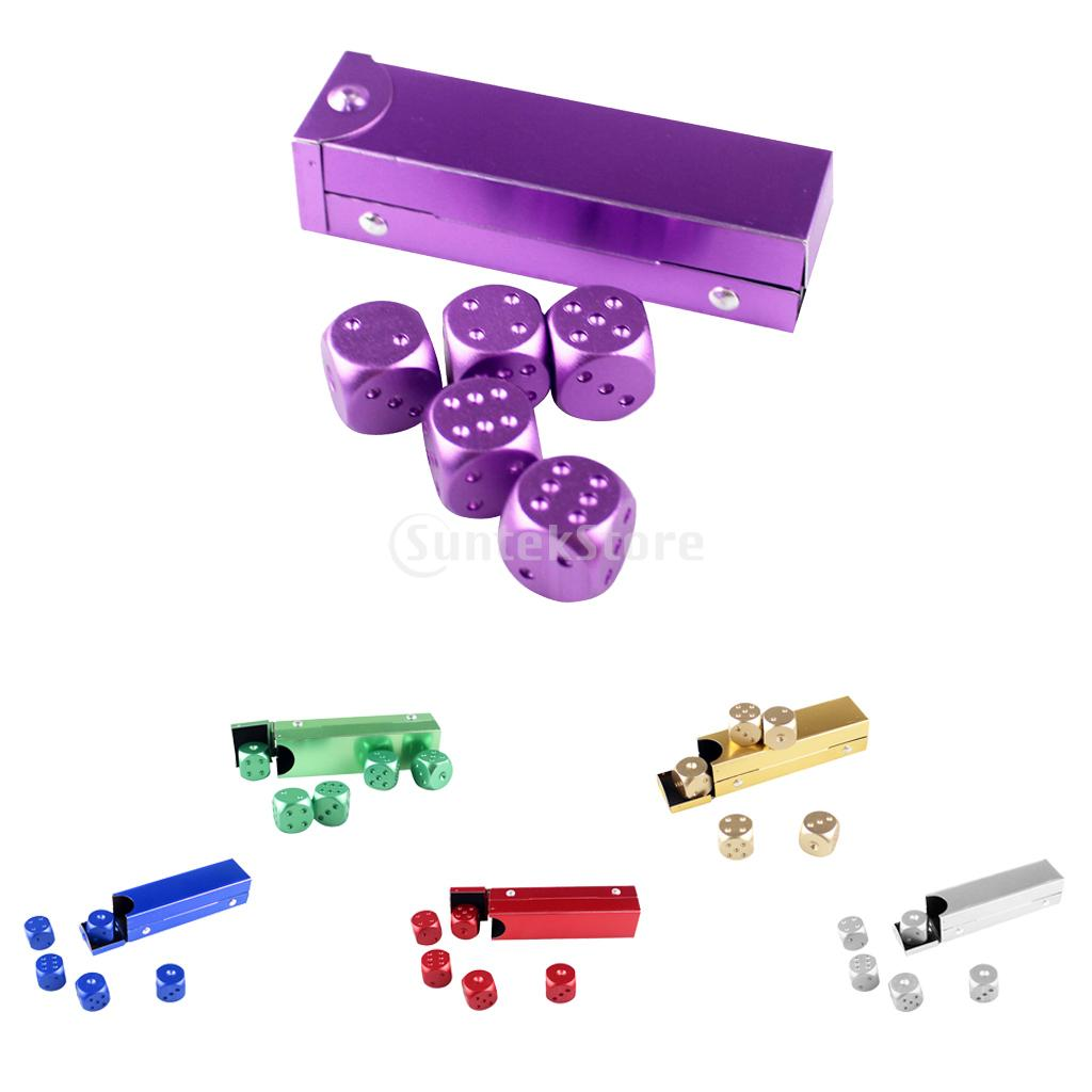 5 Pieces/Set Aluminum Alloy 16mm 6 Sided Square Cube Spot Dice Round Corner with Case Box for Home Party Play Board Games