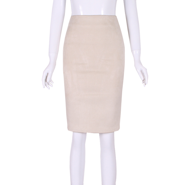 10 colors size S M L XL 2018 Women Winter Solid Suede Multi Package Hip Pencil Midi Skirt Autumn Winter Bodycon Femininas