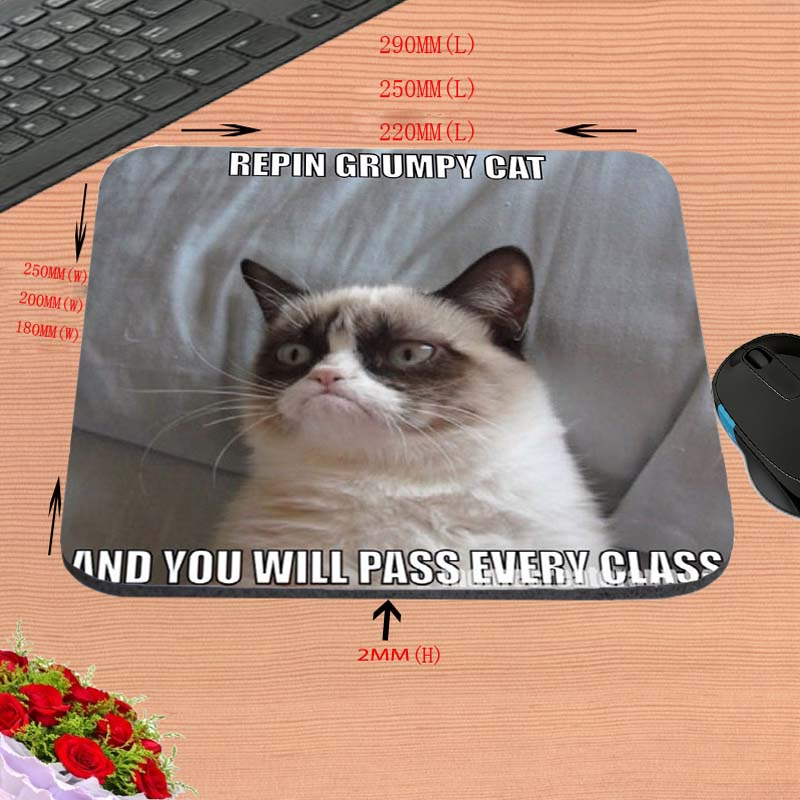 Grumpy Cat wholesale Custom Hot Sell Print Anti-slip New Arrival Customized Mouse Pad Computer PC Nice Gaming Mousemat As Gift