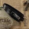 Atacado 2016 moda jóias fresco genuína pulseira de couro do plutônio dos homens titanium aço pulseiras homem do vintage presentes criativos lph908