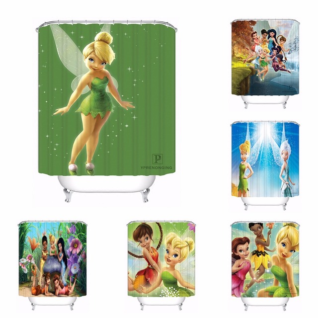 Custom Fairies Tinker Bell Fairy Friends Bath Curtain Bathroom Mildewproof Waterproof Polyester Shower Curtain180417