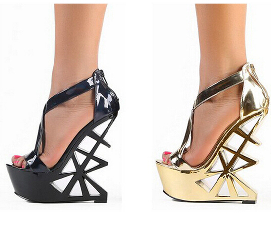 Summer Fashion Strange Heel Woman Sexy Pumps Golden cut outs Heel Design Cool Sandals High Heels Platform Heels Party Shoes fashion summer apricot sandals charming multi buckles design woman high heels ankle buckles cover heel back zipper free ship