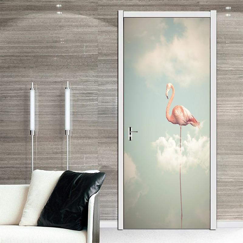 Online Shop 3d Burung Flamingo Pintu Gambar Mural Sickers Pintu